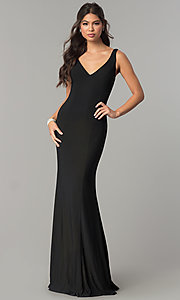 Image of long prom formal dress with embroidered back panel. Style: ZG-PL-32702 Back Image