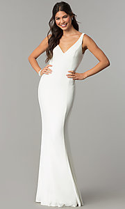 Image of long prom formal dress with embroidered back panel. Style: ZG-PL-32702 Detail Image 2
