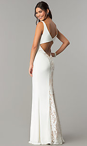 Image of long prom formal dress with embroidered back panel. Style: ZG-PL-32702 Detail Image 3