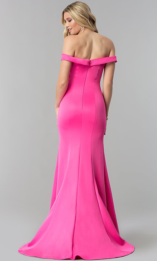 Image of mermaid formal off-the-shoulder long prom dress. Style: ZG-PL-32704 Back Image