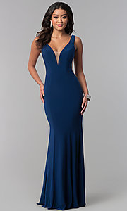 Image of long formal prom dress with train and deep v-neck. Style: ZG-PL-32719 Detail Image 2