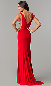 Image of long formal prom dress with train and deep v-neck. Style: ZG-PL-32719 Back Image