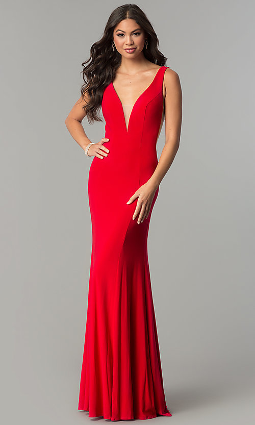 Image of long formal prom dress with train and deep v-neck. Style: ZG-PL-32719 Front Image