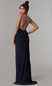 Image of open-back racer-front long prom dress with train. Style: ZG-PL-32721 Back Image