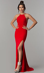 Image of open-back racer-front long prom dress with train. Style: ZG-PL-32721 Detail Image 3
