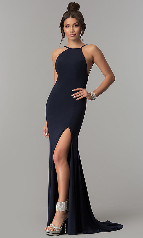 Image of open-back racer-front long prom dress with train. Style: ZG-PL-32721 Front Image
