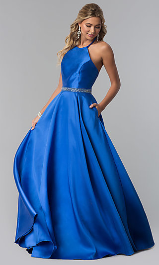 High-Neck Long Prom Dress with Beaded Waist