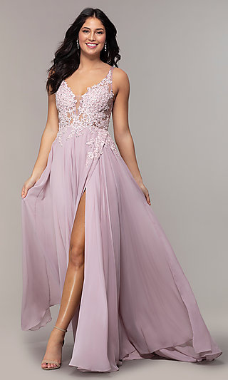Ivory Illusion-Lace-Bodice Long Chiffon Prom Dress