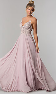 Image of long chiffon prom dress with ribbon embroidery. Style: ZG-PL-32754 Front Image