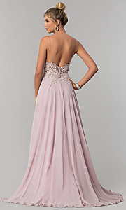 Image of long chiffon prom dress with ribbon embroidery. Style: ZG-PL-32754 Back Image