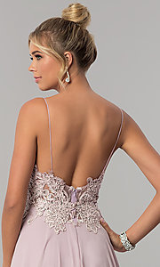 Image of long chiffon prom dress with ribbon embroidery. Style: ZG-PL-32754 Detail Image 2