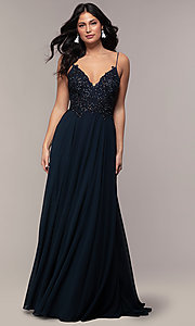 Image of long chiffon prom dress with ribbon embroidery. Style: ZG-PL-32754 Detail Image 3