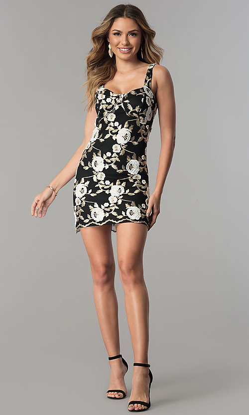Image Of Short Black Party Dress With Gold Embroidery Style Jtm Jd8010 Detail