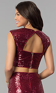 Image of sequin mermaid two-piece long burgundy prom dress. Style: LP-90176 Detail Image 2