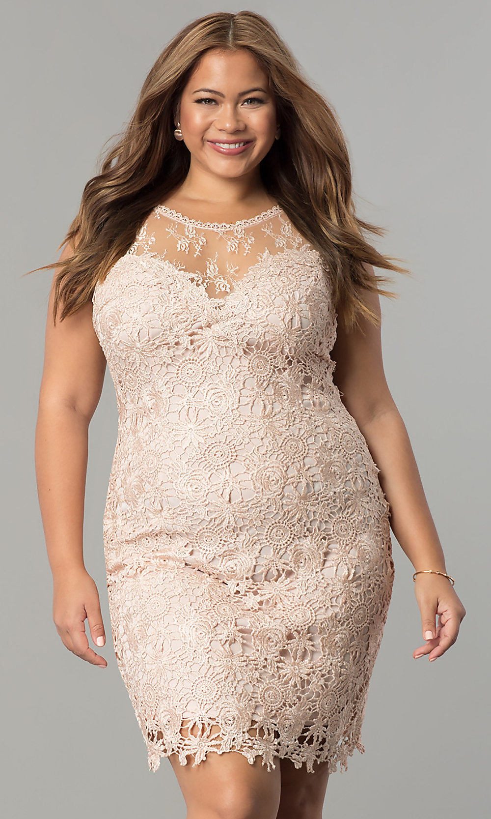 Short Lace Plus-Size Wedding-Guest Party Dress
