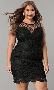 Image of plus-size short lace wedding-guest party dress. Style: LP-24103P Front Image