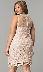 Image of plus-size short lace wedding-guest party dress. Style: LP-24103P Back Image