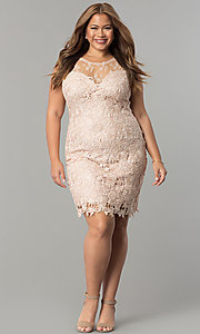 Image of plus-size short lace wedding-guest party dress. Style: LP-24103P Detail Image 2