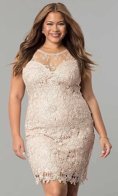 Image of plus-size short lace wedding-guest party dress. Style: LP-24103P Detail Image 1