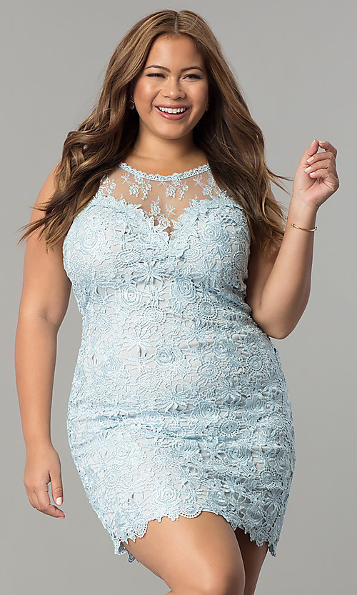 Image of plus-size short lace wedding-guest party dress. Style: LP-24103P Detail Image 3