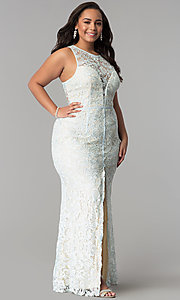 Image of allover-lace plus-size long prom dress. Style: LP-22888P Front Image
