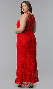 Image of allover-lace plus-size long prom dress. Style: LP-22888P Back Image