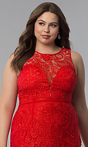 Image of allover-lace plus-size long prom dress. Style: LP-22888P Detail Image 1