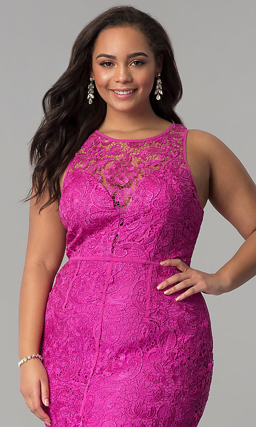 Image of allover-lace plus-size long prom dress. Style: LP-22888P Detail Image 4
