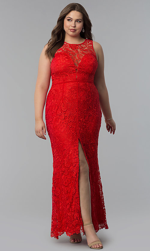 Image of allover-lace plus-size long prom dress. Style: LP-22888P Detail Image 2
