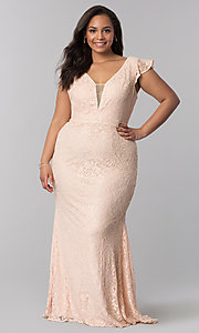 V Neck Long Plus Size Lace Prom Dress In Blush Pink