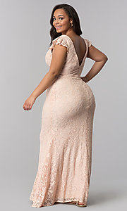 Image of plus-size long v-neck blush pink lace prom dress. Style: LP-24286P Back Image