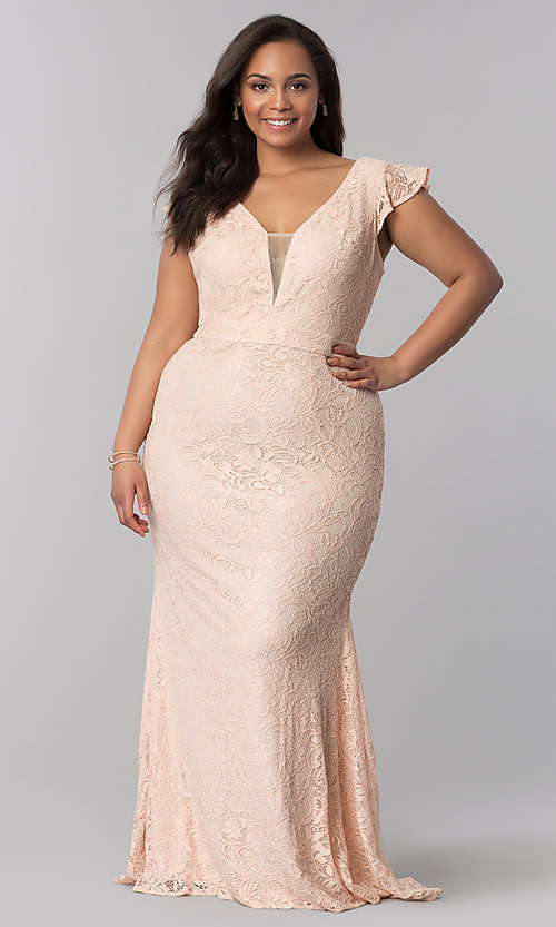 Image of plus-size long v-neck blush pink lace prom dress. Style: LP-24286P Front Image