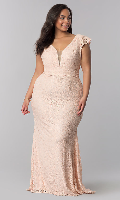 Image of plus-size long v-neck blush pink lace prom dress. Style: LP-24286P Detail Image 1