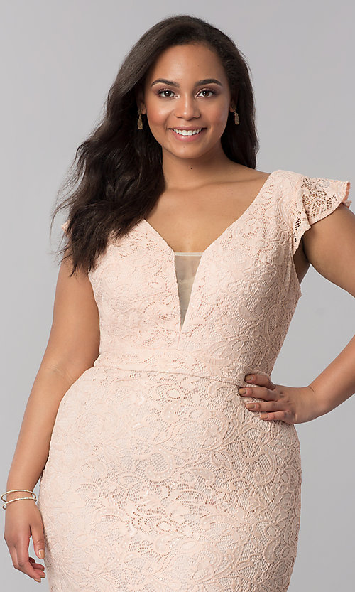 Image of plus-size long v-neck blush pink lace prom dress. Style: LP-24286P Detail Image 2