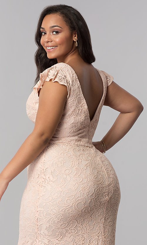 Image of plus-size long v-neck blush pink lace prom dress. Style: LP-24286P Detail Image 3