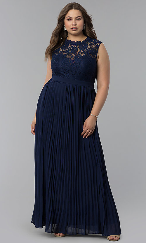 Long Lace-Bodice Pleated-Skirt Plus-Size Prom Dress