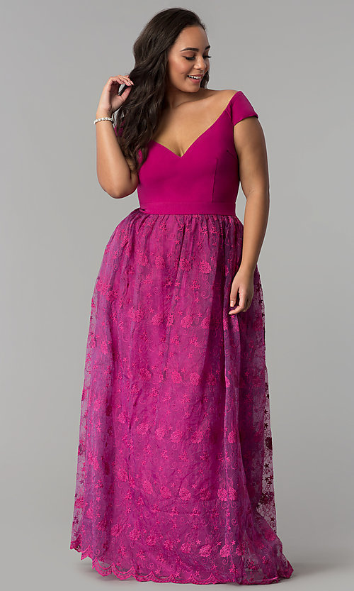 Long Off-the-Shoulder Plus-Size Embroidered Prom Dress