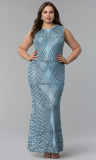 Long Plus-Size Art-Deco-Inspired Sequin Prom Dress