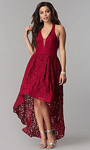 Image of v-neck halter high-low lace party dress. Style: LP-24966 Front Image