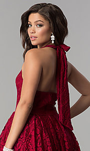 Image of v-neck halter high-low lace party dress. Style: LP-24966 Detail Image 2