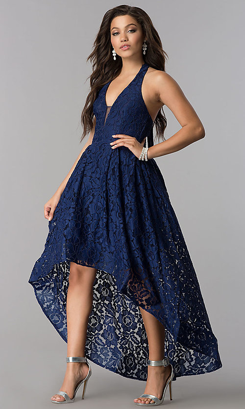 Image of v-neck halter high-low lace party dress. Style: LP-24966 Detail Image 3