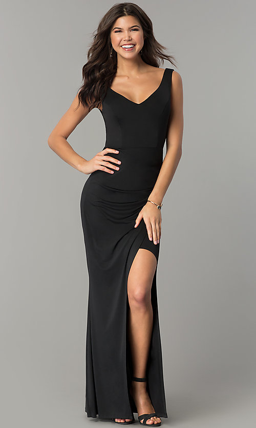 Image of long black wedding-guest dress with back cut outs. Style: MB-7141 Front Image