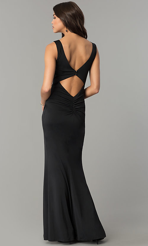 Image of long black wedding-guest dress with back cut outs. Style: MB-7141 Back Image