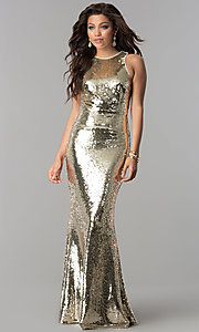 Image of sequin long formal mermaid prom dress. Style: LP-24777 Front Image