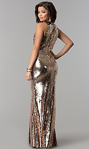 Image of sequin long formal mermaid prom dress. Style: LP-24777 Back Image