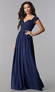 Image of ruched-bodice sweetheart long chiffon formal dress. Style: LP-24516 Front Image