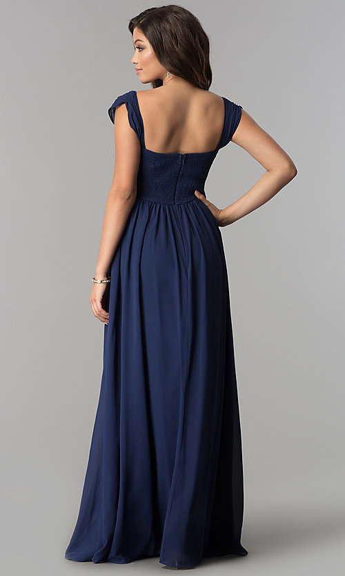 Image of ruched-bodice sweetheart long chiffon formal dress. Style: LP-24516 Back Image