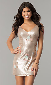 Image of short gold sequin embroidered v-neck party dress. Style: MT-8957 Front Image