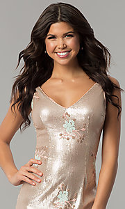 Image of short gold sequin embroidered v-neck party dress. Style: MT-8957 Detail Image 1