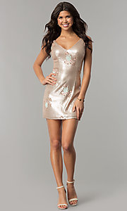Image of short gold sequin embroidered v-neck party dress. Style: MT-8957 Detail Image 2
